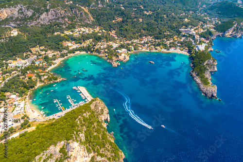 Paleokastritsa bay on Corfu island, Ionian archipelago, Greece