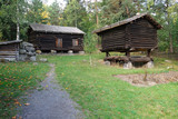 The autumn landscape of the Swedish countryside with meadows and ancient buildings. - 223594562