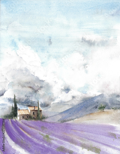 lavender-field-france-provence-cloud-sky-mountains-watercolor-painting-illustration