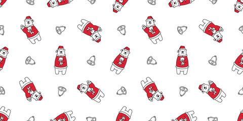 Bear seamless pattern vector polar bear Christmas Santa Claus Hat bell teddy cartoon isolated tile background wallpaper illustration © CNuisin