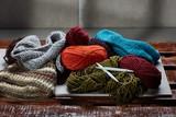 Closeup photo of colorful knitwear - 223618188
