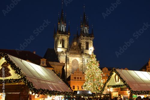 Leinwanddruck Bild Christmas market - Old town Prague Czech republic