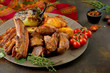 pork and chicken kebab with grilled vegetables - 223621360