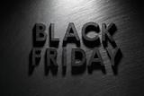 Black Friday text on black slate background - 223637333