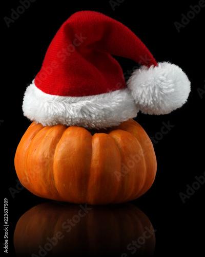 36a4c1ec3b5 Single orange pumpkin with Christmas Santa hat