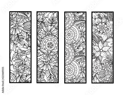 Set of four bookmarks in black and white. Doodles flowers and ornaments for adult coloring book. Vector illustration.