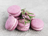 french macarons with lavender flavor - 223669908