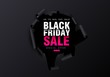 Black Friday sale background. Hole in black paper. Big Sale, black friday, creative template. Vector illustration. - 223671196