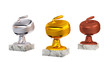 Curling Stone Gold Silver and Bronze Trophies with Marble Bases