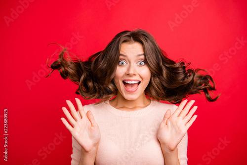 Leinwandbild Motiv Close up portrait of wow face stylish, trendy lady person with o