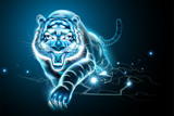Vicious tiger with lightning effect