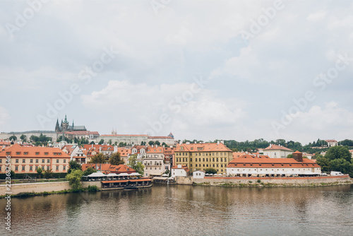 beautiful Vltava river and architecture in prague, czech republic - 223687546
