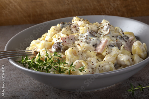 Ravioli with mushrooms and ham in a cream and cheese sauce - 223689529
