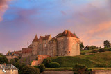 Beautiful view of Ch?teau de Dieppe at sunset in Normandy, France, with a vibrant sunset sky - 223690757