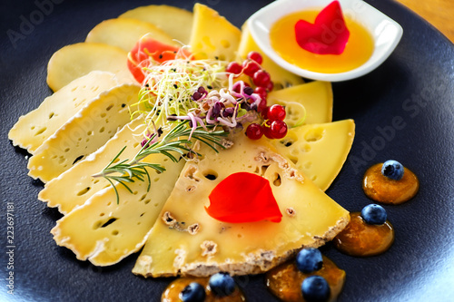Cheese platter with fruits and marmalade. - 223697181