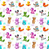 Seamless pattern with funny textile stuffed toys. - 223699974
