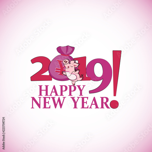 Cute pink pig with a bag of Chinese money. Happy New Year. Chinese ...
