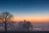 sunset landscape with tree and lake in Upper Austria in winter