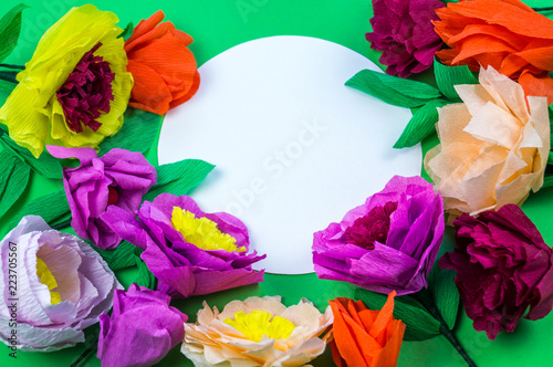 Tools Making Crepe Paper Flowers Green Background Buy Photos Ap