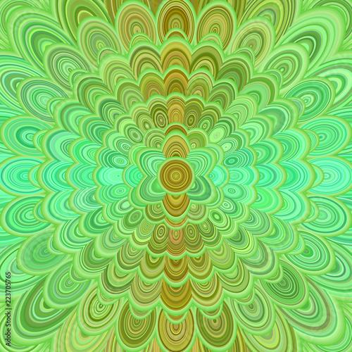 Green abstract digital flower mandala art background - vector circular pattern graphic design