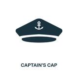 Captain'S Cap icon. Monochrome style design. UI. Pixel perfect simple symbol captain's cap icon. Web design, apps, software, print usage. - 223715135
