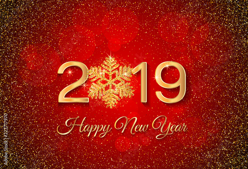 new year 2019 greeting card 2019 golden new year sign with golden snowflake and glitter