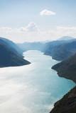 aerial view of Gjende lake, Besseggen ridge, Jotunheimen National Park, Norway