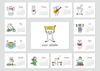 Smile! Monthly calendar 2020 template with a funny cat enjoying seasons. Vector illustration 8 EPS.