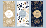 A set of greeting card with golden snowflakes and festive decor. Hand-drawn vector illustration. Trendy design template of leaflet cover, flayer, card, beauty salon, spa, restaurant, club. - 223732760