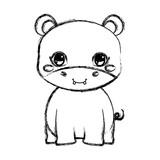 cute hippo baby sitting cartoon - 223734528