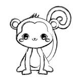 cute monkey baby sitting cartoon