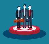 businessmen team group standing on target business - 223734973