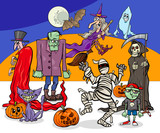 Halloween holiday cartoon spooky characters group - 223742121