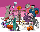 Halloween holiday cartoon scary characters group - 223742152