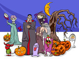 Halloween holiday cartoon funny characters group - 223742199