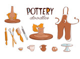 Clay Pottery Workshop Studio icons set. Artisanal Creative Craft concept. Handmade traditional pottery making, hand drawn vector illustration doodle style - 223743572