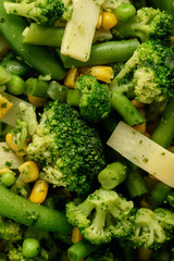 Cooked green vegetables as broccoli and green bean.