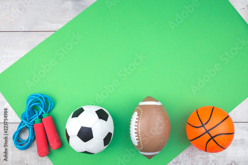 Leinwandbild Motiv Sport balls with jumping rope