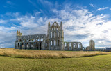 Whitby Abbey North Yorkshire Coast UK. Perched high on a cliff, the haunting remains of Whitby Abbey were inspiration for Bram Stoker's gothic tale of 'Dracula'.  - 223755138