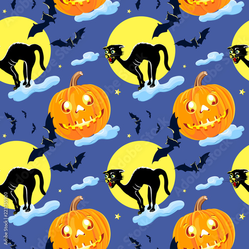 obraz lub plakat Cat and pumpkin vector seamless Pattern Halloween isolated wallpaper background cartoon.