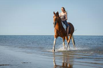 Reiterin mit Schecke im Meer © Nadine Haase