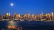 Travel USA, New York City. View of Manhattan skyline at twilight from Boulevard East, NJ..