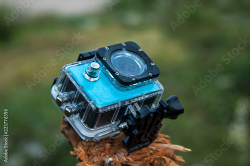Action camera on a nature background. - 223776356