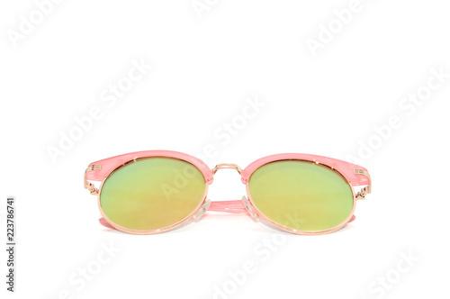 Okulary przeciwsłoneczne dla kobiet z różową i złotą ramką