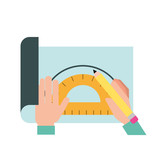 graphic designer hands working with protractor and pencil - 223788568