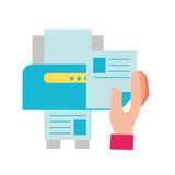 hand holding paper copy printer machine - 223788960