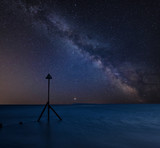 Vibrant Milky Way composite image over landscape of Beautiful long exposure beach - 223791706