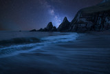 Vibrant Milky Way composite image over landscape of long exposure seascape of rocky coastline - 223791955