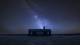 Vibrant Milky Way composite image over landscape of Remote desolate isolated house - 223791981