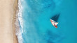 Quadro Yacht on the water surface from top view. Turquoise water background from top view. Summer seascape from air. Travel concept and idea